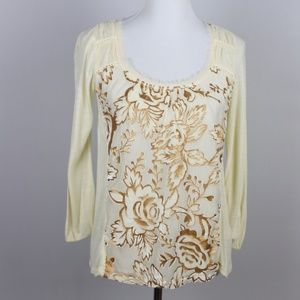 Anthropologie Meadow Rue Blouse Ivory Gold XS
